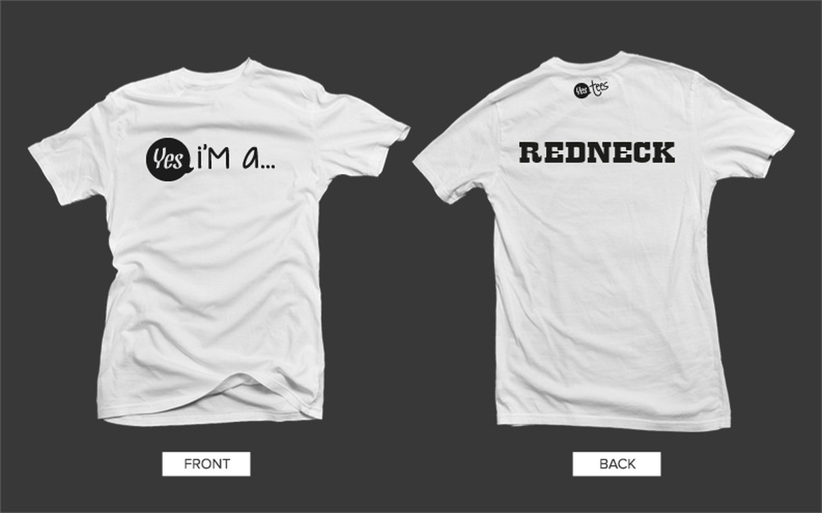 d5ce0007 White Redneck Tshirt with Black Graphic