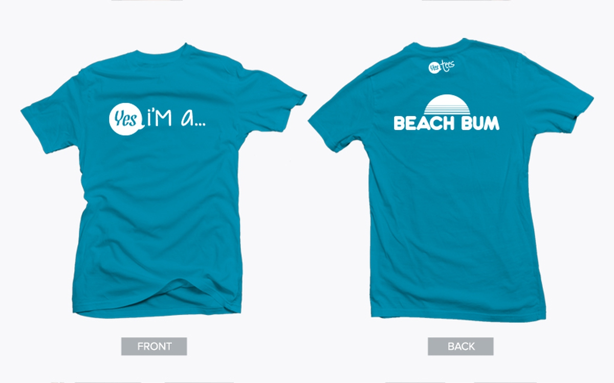 Turquoise Blue Beach Bum Tshirt with White graphic