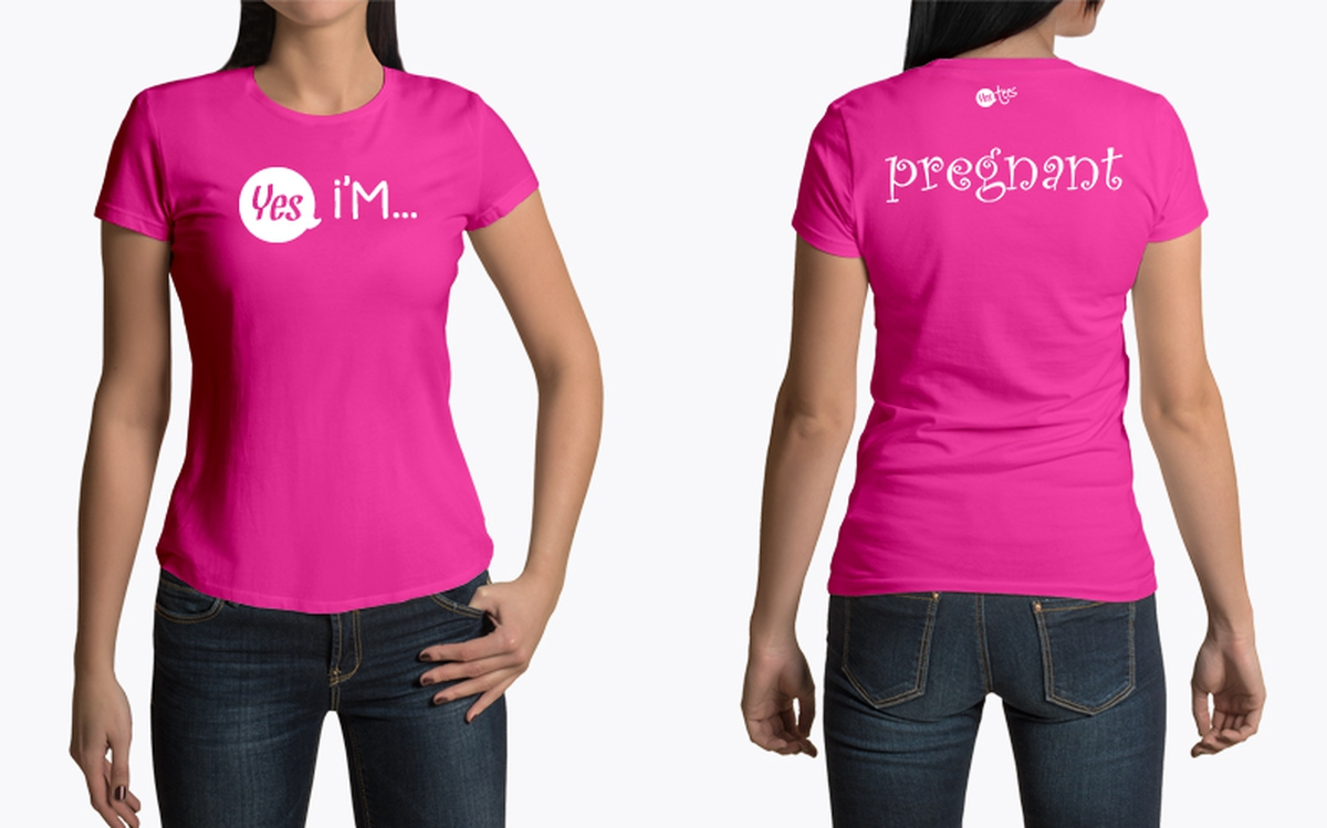 Custom Pink Pregnant Sign T-Shirt