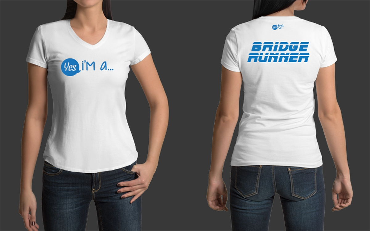 Custom Made Bridge Runner V-Neck Tshirt for W