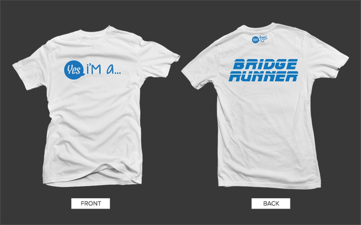 White Bridge Runner Tshirt with Blue Graphic