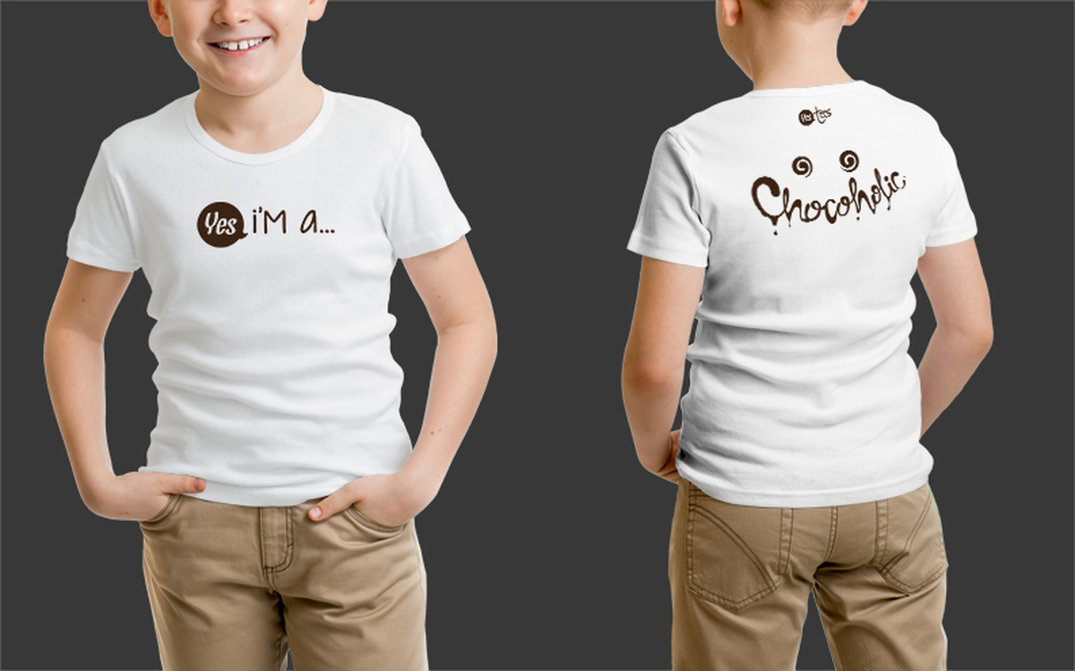 Custom White Chocoholic Tshirt for Kids