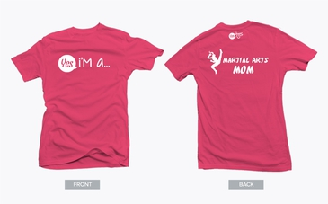 Pink Martial Arts Mom Tshirt with White Graph