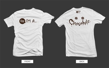 White Chocoholic Tshirt with Brown Graphic