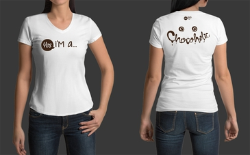 Custom White Chocoholic V-Neck Tshirt for Wom
