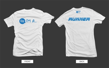 White Runner Tshirt with Blue Graphic